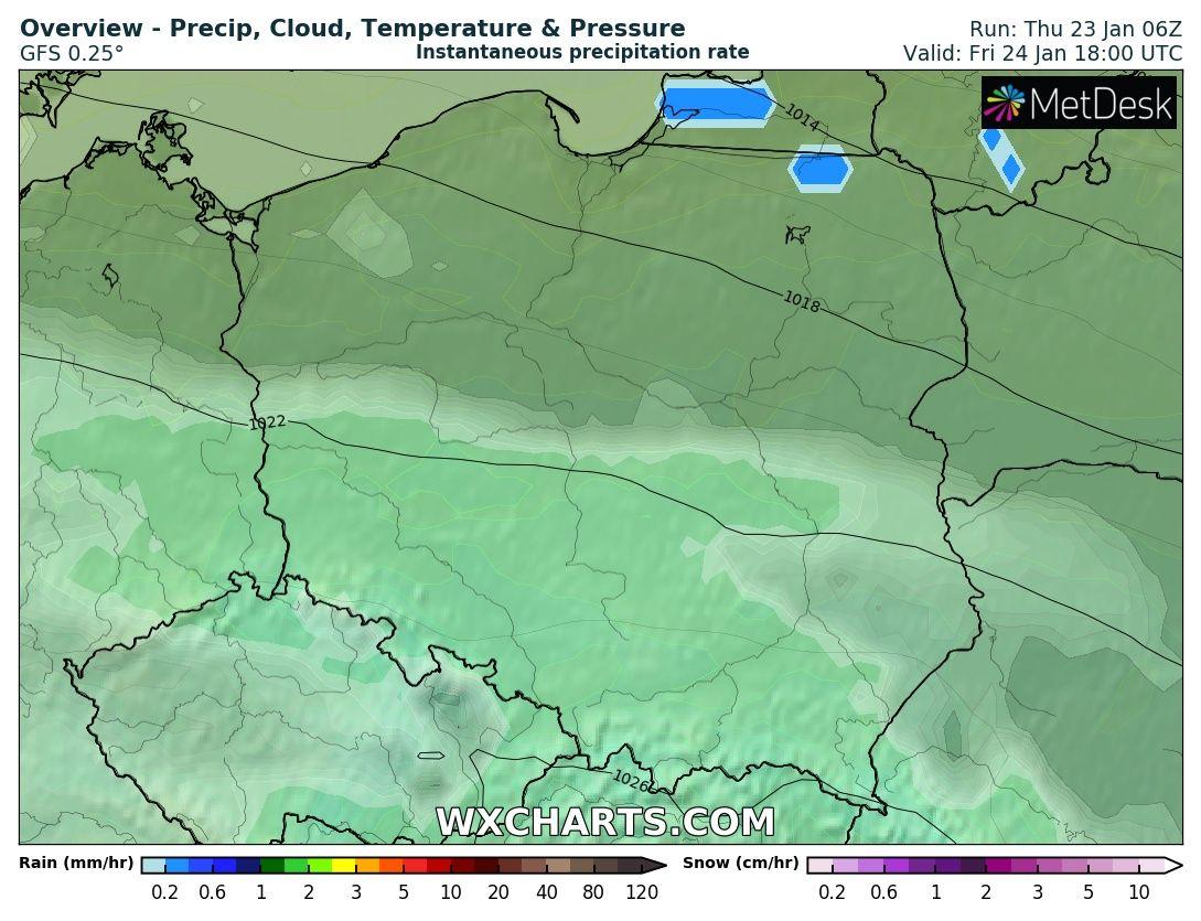 Prognoza pogody na piątek 23.01.2020